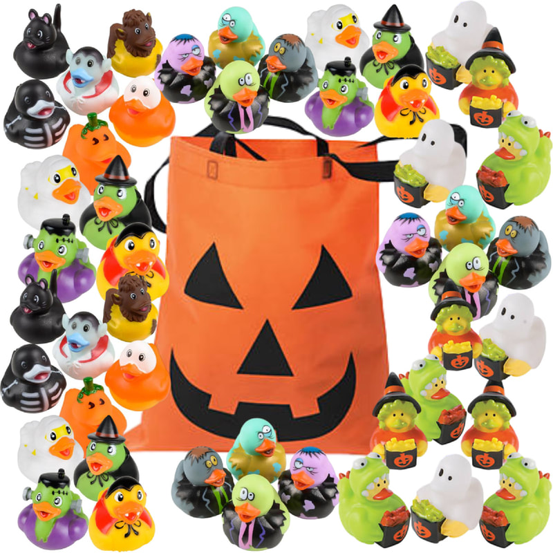 Halloween Rubber Ducks with Jack o Lantern Trick or Treat Bag - Halloween Party Favors